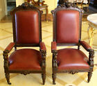 MAGNIFICENT 19C ENGLISH PAIR OAK LEATHER TOP ARM CHAIRS