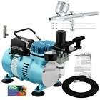 3 Tip 2 3 5 Gravity Dual Action AIRBRUSH KIT Air Compressor Hobby Cake Tattoo