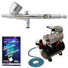 Master Gravity Dual Action AIRBRUSH KIT Air Compressor w Tank Hobby Cake Tattoo