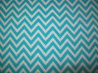 Turquoise Blue  White Chevron Cotton Snuggle Flannel Fabric By the Yard