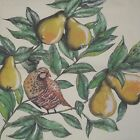 Pheasant In A Pear Tree Barn Pillow Top Fabric Panel New