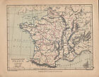 1899 VICTORIAN HISTORICAL MAP ~ FRANCE IN PROVINCES (1769-1789)