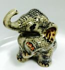 Elephant Ceramic Tiny Wild Animal Figurine Hand Painted Gift Art Collectible