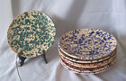 7 Vintage Lamas Italy HP Pottery Plates / Speckled Colors