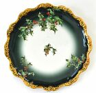 LIMOGES FRANCE HAND PAINTED HOLLY BERRIES PLATE 10.25