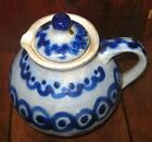 VINTAGE SALT GLAZED COBALT BLUE LIDDED SYRUP JUG/ PITCHER