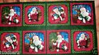 CHRISTMAS FABRIC PANEL HOLLY JOLLY 8 QUILTING SQUARES BTP  FREE SHIPPING