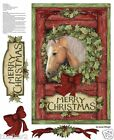 HORSE FABRIC Christmas fabric WELCOME WREATH QUICK QUILT DOOR PANEL FREE SHIP