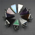 Natural Amethyst Quartz Chakra Pyramid Pointed Silver Pendant Fit Necklace New