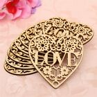 10x Laser Cut Decorative Heart Unfinished Wooden Shapes Craft Embellishments
