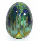 Ceramic Egg with Green, Blue and Gold Art Nouveau Style Drip Glaze