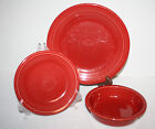 Fiesta 3 piece Setting SCARLET RED Dinner Plate, Salad Plate, & Cereal Bowl