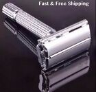 Traditional Men Double Edge Chrome Safety Razor Classic TTO Shave With 10 Blades