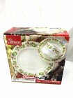 Gibson Christmas Charm 12 Piece Fine China Dinnerware 4 Plates Cups Saucers