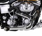 Chrome Wyatt Gatling 2 into 1 Exhaust Lake Pipe Header Harley Chopper 12mm O2