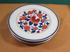 Fitz and Floyd Mandarin Garden earthenware 4  b&b dessert plates Orange Blue