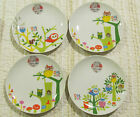 Set of 4 Whimsical Owl Porcelain Appetizer Plates - 2 plates match - NEW