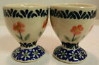 Vintage Set of (2) of Boleslawiec Polish Pottery Cobalt Floral Design Egg Cups