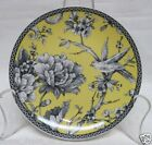 222 FIFTH ADELAIDE YELLOW SET OF 4 ROUND APPETIZER PLATES TOILE BIRD BRAND NEW