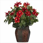 Nearly Natural Hibiscus with Vase Silk Plant in Red