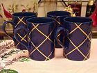Fitz & Floyd Windowpane Lapis Blue And Gold Mugs Set Of Four