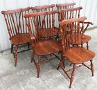 6 1950 60's WINDSOR SOLID CHERRY BRACE BACK SADDLE SEAT DINING ROOM CHAIRS