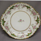 H LIMOGES FRANCE Handled Cake Plate Pink Flowers w/ Gold 11