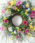Large Spring Summer Easter  Wild Twig Wreath Wall Door Decor Roses Wild Flowers