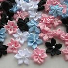 40pcs Upick Satin Ribbon Flowers Bows W pearl Appliques Craft DIY Wedding
