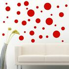 56 Pack Red Polka Dots Circle Removable Peel  Stick Wall Vinyl Decal Sticker