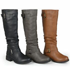 Journee Collection Womens Slouchy Buckle Detail Boots