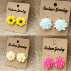 Fashion Women Lady Cute Jewelry White Yellow Daisy Flower Peony Stud Earrings