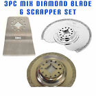 3x Multi Tool Blades for Moss Fein Multimaster Bosch Makita Diamond Grout Scrape
