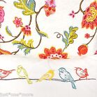 FUN FLORAL QUEEN QUILT SET Bird Feather Pillow TEAL PINK ORANGE RED YELLOW FULL