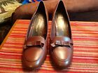 CLOUD WALKERS Women's (Size 9.5W)Brown Leather Classic Pumps with Bows.