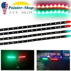 2 Pairs Submersible Marine Boat Bow Navigation Light LED Strips 12V Red + Green