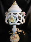 CAPODIMONTE Artist Signed Hand Made  Painted Table Lamp W Applied Roses Italy
