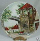 VINTAGE HAND PAINTED DECORATIVE PLATE COUNTRY TOWN SCENCE SIGNED J.FORST