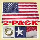 2 Pack 3x5 Ft US American Nylon Deluxe Embroidered Stars Sewn Stripes USA Flag
