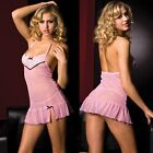 Pink Daisy Lace Halter Mini Dress Lingerie Chemise One Size Regular ML6449