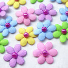 20 100pcs Padded Felt Flowers Bows W Rhinestone Appliques Craft Mix