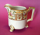 Art Nouveau/Deco Footed Cream Pitcher, Hand Painted With Gold Moriage