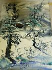 Morris Katz (American Polish) beautiful winter Wonderland  painting 1970s!