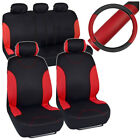Sport Red Car Seat Covers Auto Comfort on Black PU Leather Steering Wheel Cover