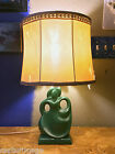 Med. Size Antique Art Deco Table Lamp with Old Shade - Female Modern Figure NICE
