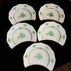 Herend Porcelain Hand Painted Chinese Bouquet Green Set of 5 Cresent Plates