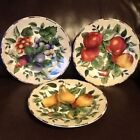 Lot of 3 Oneida Sakura SALAD PLATES Sonoma Excell Genuine STONEWARE Mixed Fruit