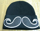 BLACK with Big Black Mustache Design Beanie Winter Knitted Cuffed Hat New!