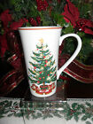 222 FIFTH O'TANNENBAUM SET OF 2 LATTE COFFEE MUGS CUPS CHRISTMAS TREE
