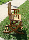 Vintage Child's High Chair Rocker Rocking Adjustable Oak Wood w/Cane Back